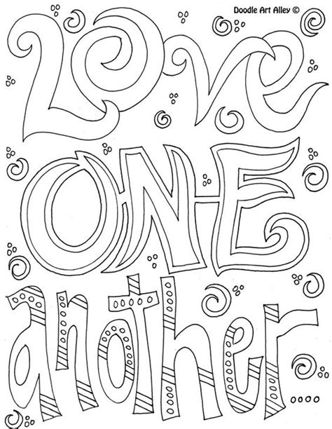 printable doodle quotes coloring page love one another coloring pages words
