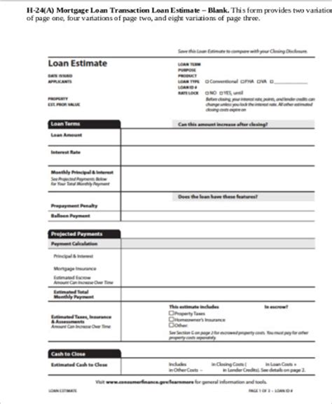 loan estimate form 29 loan estimate page 3 mortgage
