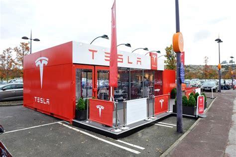 winter garden outdoor shopping tesla unveils electric car pop up retail design world