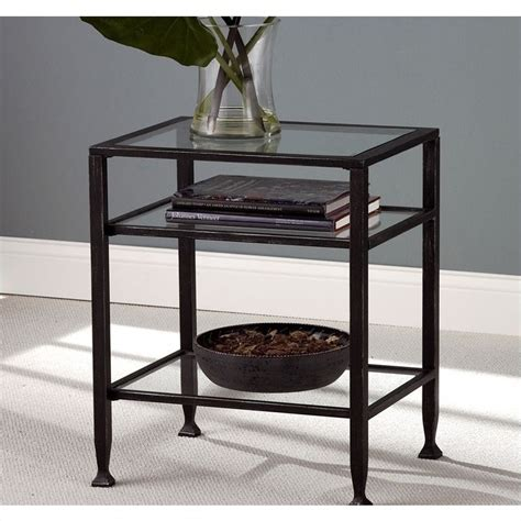 Distressed End Table by Martin Guthrie Metal End Table In Distressed Black Ck8772