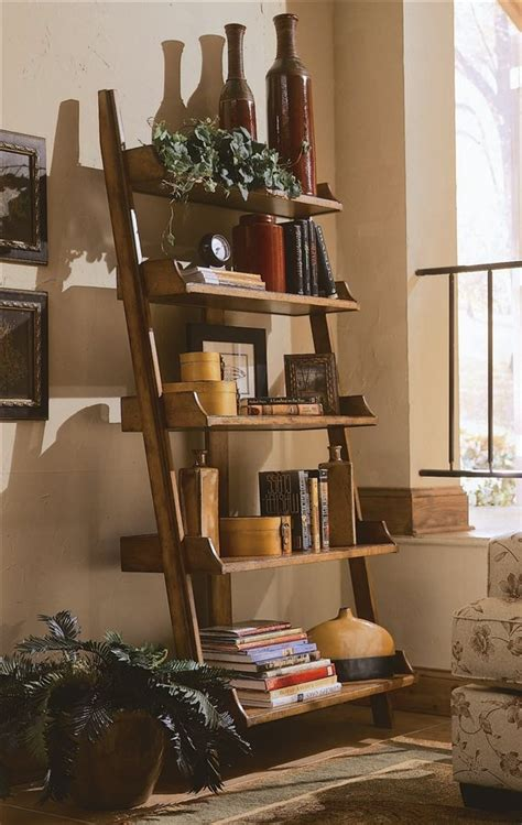 ladder bookshelf with vertical frames home decor ideas