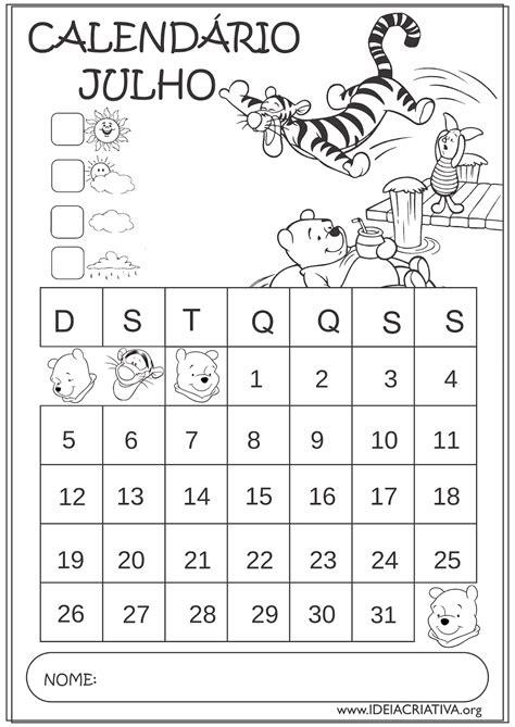Calendario Julho 2015 Calend 225 Rios Julho 2015 Turma Do Pooh Educa 231 227 O Infantil
