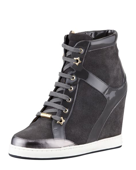 grey sneaker wedges jimmy choo panama suede and patent wedge sneaker in gray
