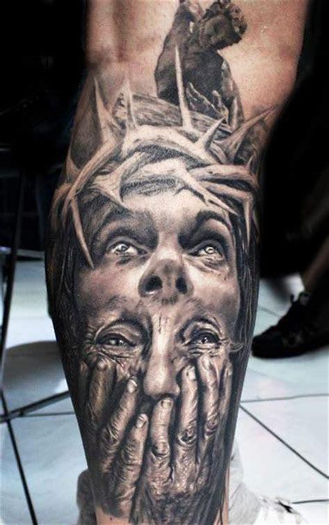 jesus tattoo on his thigh wonderful idea of jesus tattoo on leg tattooimages biz