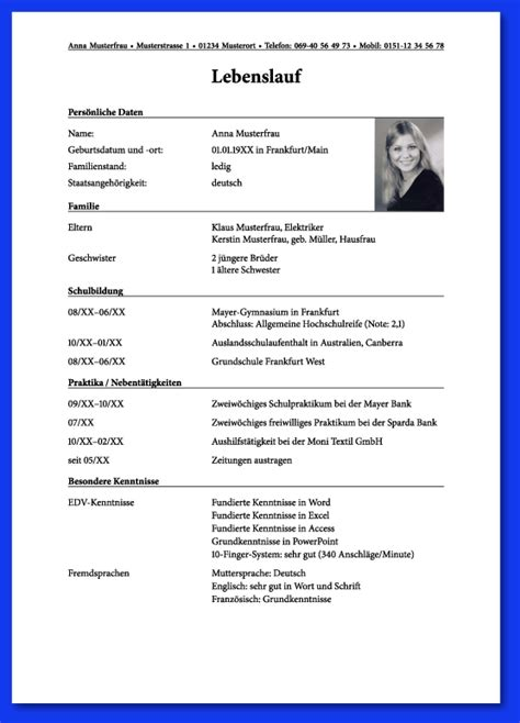 Passfoto Lebenslauf Format 6 Chronologischer Lebenslauf Expense Report