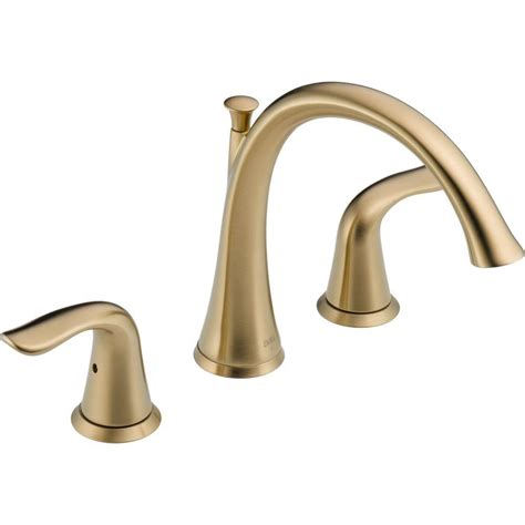 Bathtub Faucet Adapter by Delta Lahara 2 Handle Deck Mount Tub Faucet Trim Kit Only In Stainless Valve Not Included