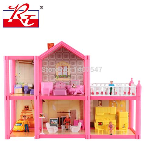 plastic dolls house furniture new large size diy dollhouse assemble villa plastic miniatura doll house furniture 3d