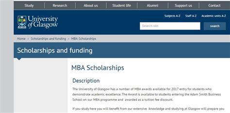 Mba Scholarships Uk 2017 by Of Glasgow Mba Scholarships 2017 Uk Armacad