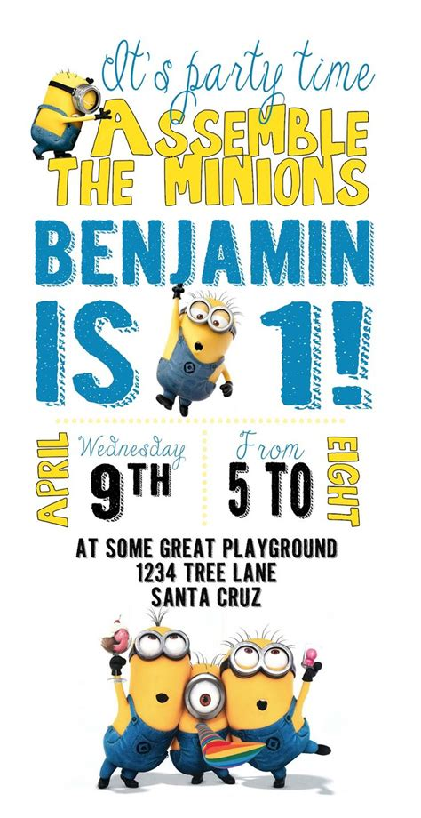 free minion invitation template diy design den minion birthday with free printables