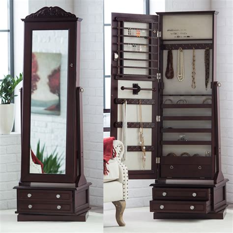 jewelry armoire mirrored belham living swivel cheval mirror jewelry armoire jewelry armoires at hayneedle