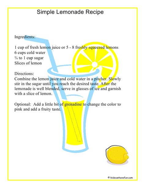 simple lemonade recipe summer activities for kids