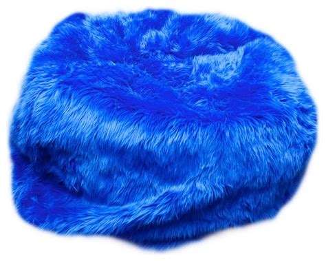 Big Fuzzy Bean Bag Chair Large Beanbag Royal Blue Fuzzy Fur Contemporary Bean