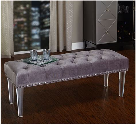 gold and gray bedroom bench upholstered bedroom bench clear acrylic legs studded