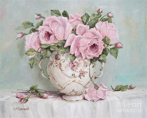 cuadro tris rose shabby pink display of roses painting by gail mccormack