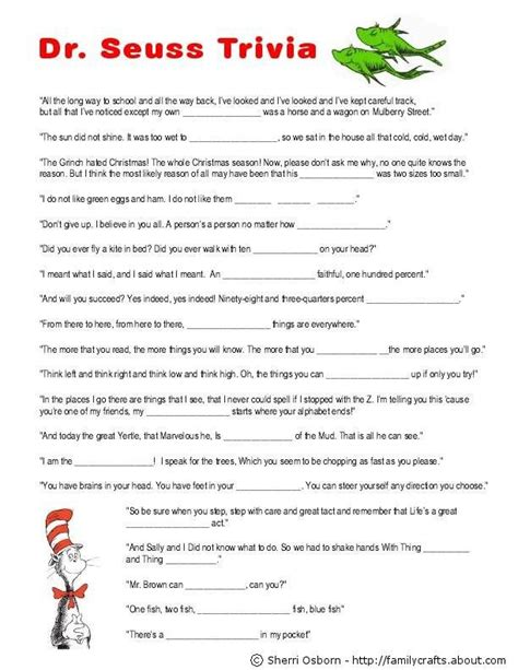 printable quiz games this party calls for a theme dr seuss green door