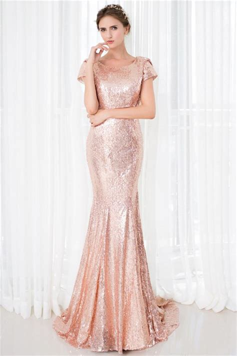 24440 Redwhiteyellow Roses Slim Dress slim mermaid scoop neck cowl back blush pink sequin prom