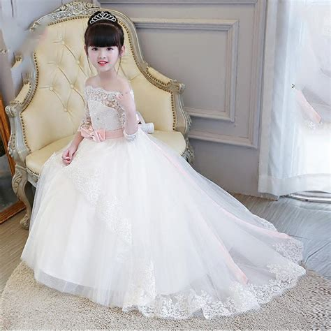 lp2695 off the shoulder lace flower girl dress long