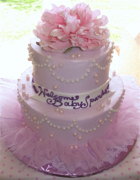 Pretty Baby Shower Cakes by Pretty Pink And Purple Baby Shower Cake A Photo On