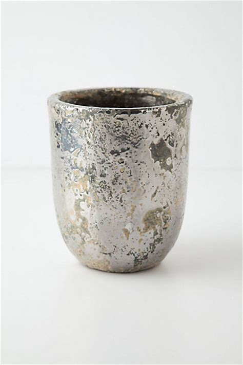 Silver Planters by Metallic Crackle Herb Pot Silver Indoor