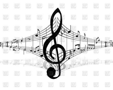 imagenes vintage musica musical notes and treble clef in center royalty free