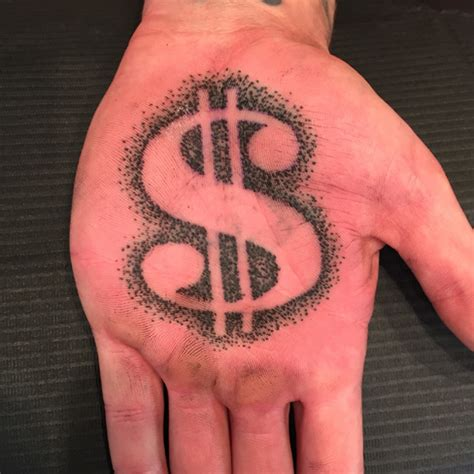 black and grey dollar money tattoo hand by jose lopez
