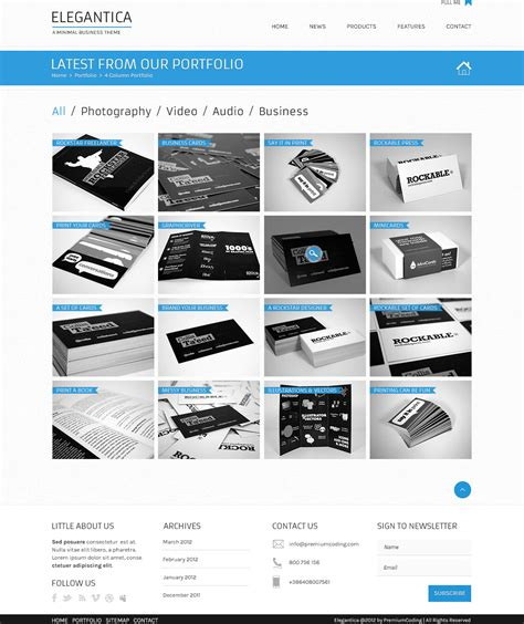 freebie 4 column portfolio template for business theme