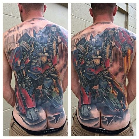 transformer tattoos optimus prime back transformers