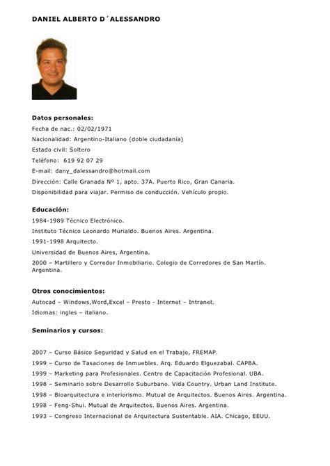 Modelo De Curriculum Vitae Para Abogados Argentina C V Arquitecto Jefe De Obra