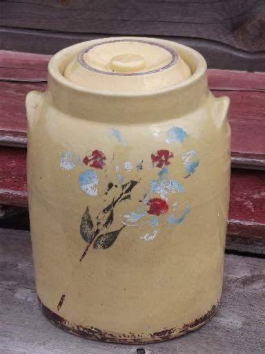 old crock pottery cookie jar or kitchen canister, vintage