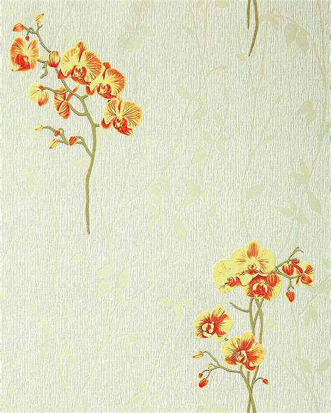 yellow floral wallpaper for walls wall covering floral pattern orchid wallpaper flowers edem