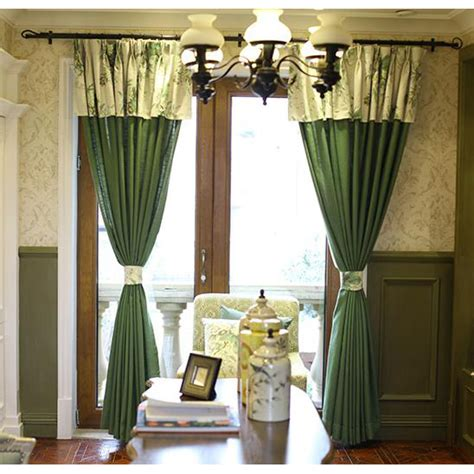 Patterned Drapes And Curtains Emerald Green Patterned Linen Pastoral Curtains