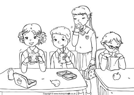 school lunch coloring page school lunch colouring page