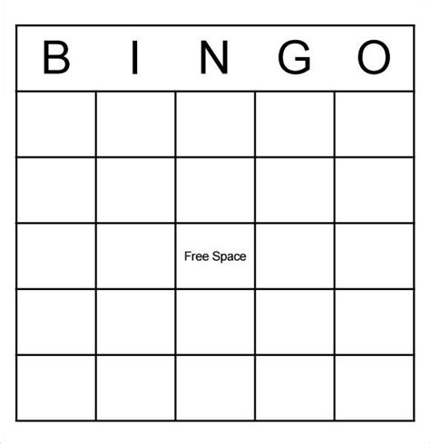 Blank Bingo Card Template Microsoft Word