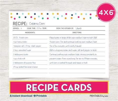 printable 4x6 recipe card template recipe card 4x6 recipe card printable recipe recipe cards