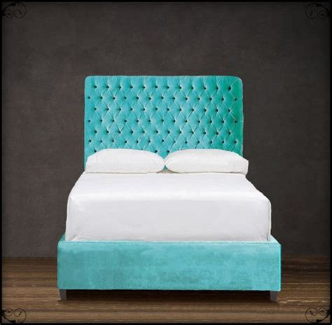 turquoise headboard custom upholstered headboard w diamond tufting shown in