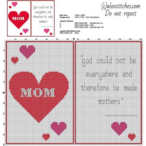 sentence pattern blueprint cards happy mother s day cross stitch pattern card with hearts