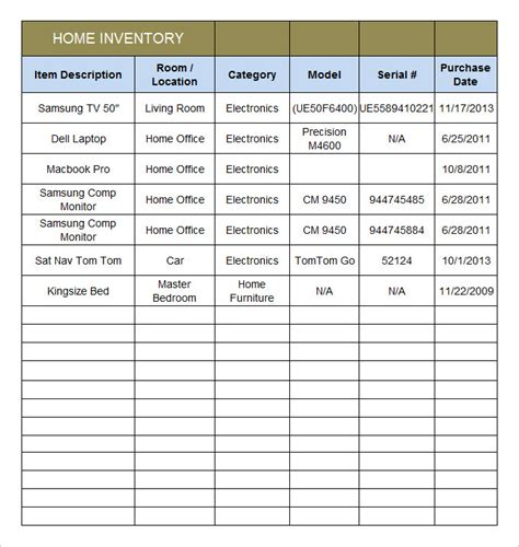 property inventory template free home inventory template 15 free excel pdf documents