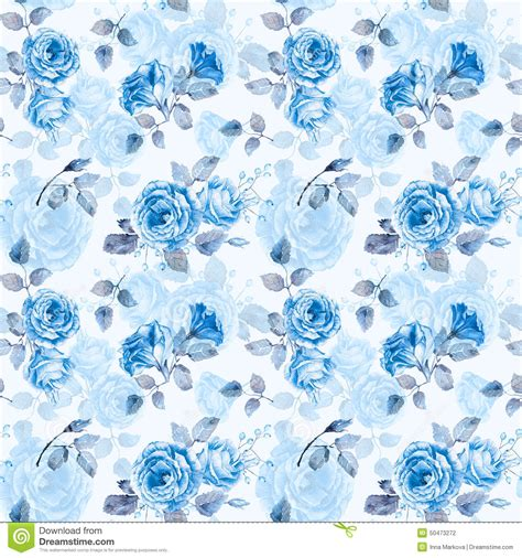 floral pattern watercolor painting blue seamless pattern of watercolor blue roses stock