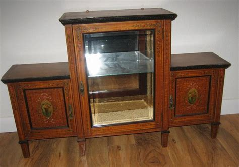 fancy glass display cabinet antique english edwardian toile decorative painted glass