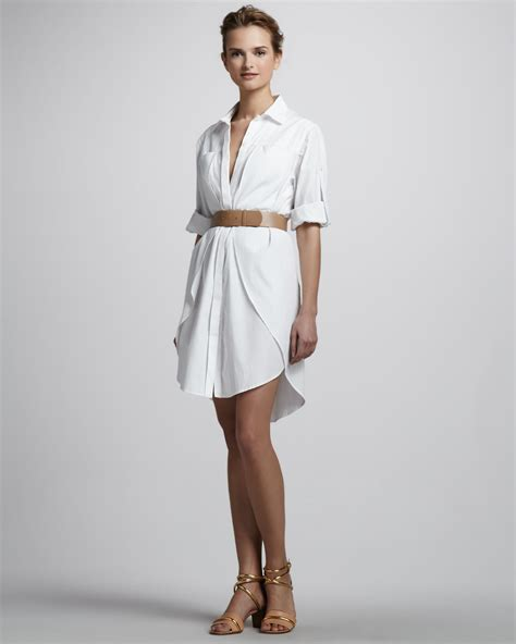 heritage belted shirt dress in white lyst