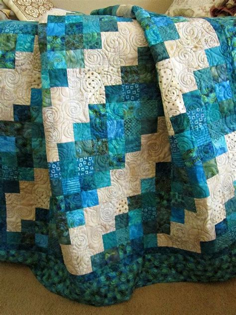 Teal Patchwork Quilt - handmade patchwork quilt aqua turquoise teal