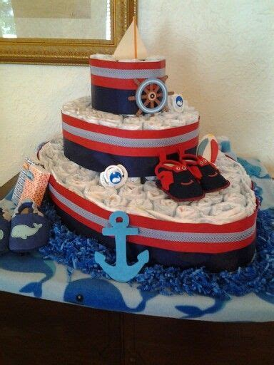 on a boat theme diaper boat nautical theme diaper cakes pinterest