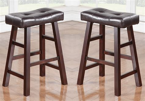 solid cherry counter stools set of 2 cherry faux leather solid wood 24h saddle