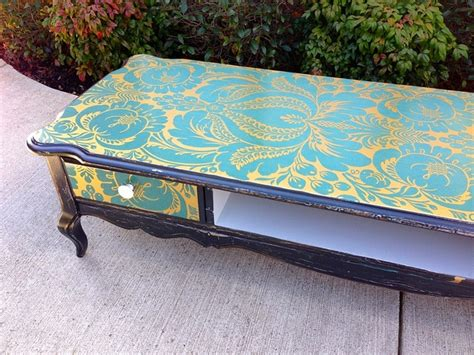 Wallpaper A Coffee Table | damask wallpaper covered coffee table furniture design
