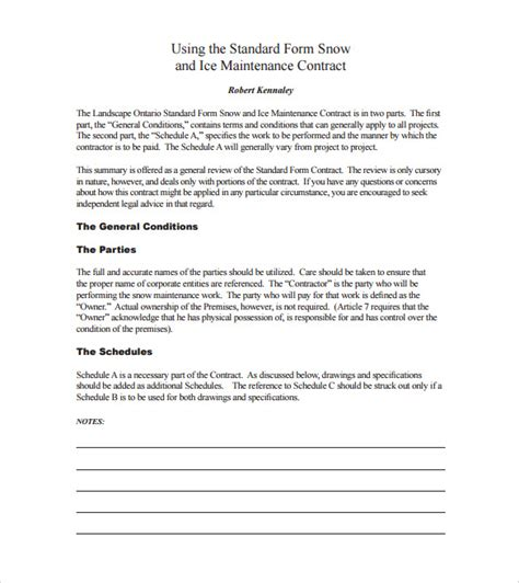snow removal contract templates snow plowing contract template 7 free