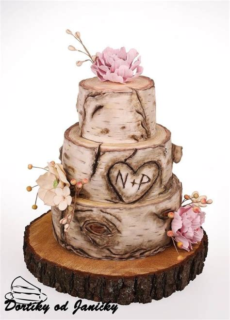 hochzeitstorte holz birch wedding cake cake by dortikyodjanicky cakesdecor