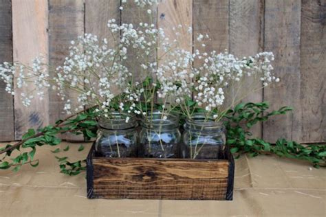 wedding table decoration ideas with jars wood crate centerpiece wedding centerpiece wood crate