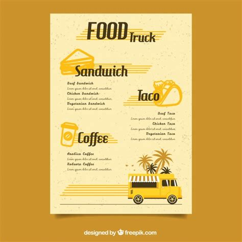 food truck menu template retro food truck menu template vector free