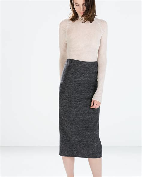 zara knit midi pencil skirt in gray lyst