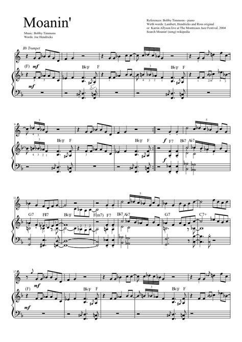 moanin with trumpet musescore